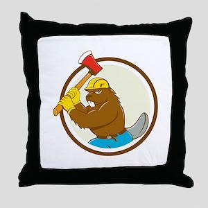 Beaver Lumberjack Wielding Ax Circle Cartoon Throw