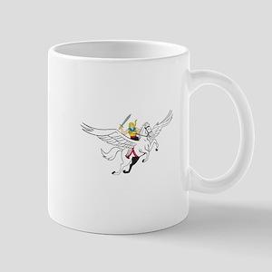 Valkyrie Amazon Warrior Flying Horse Cartoon Mugs