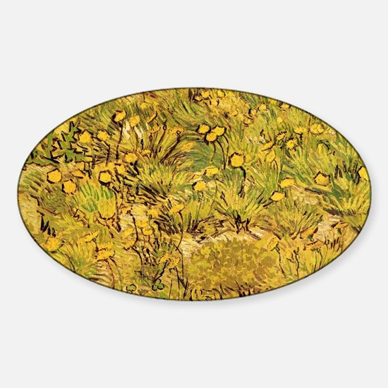 A field of Yellow Flowers, Vincent  Sticker (Oval)