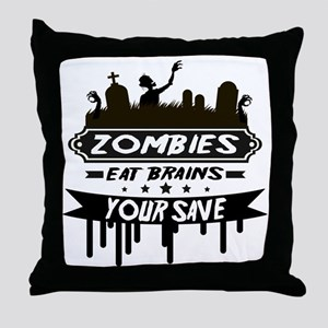 zombies eat brainss Throw Pillow