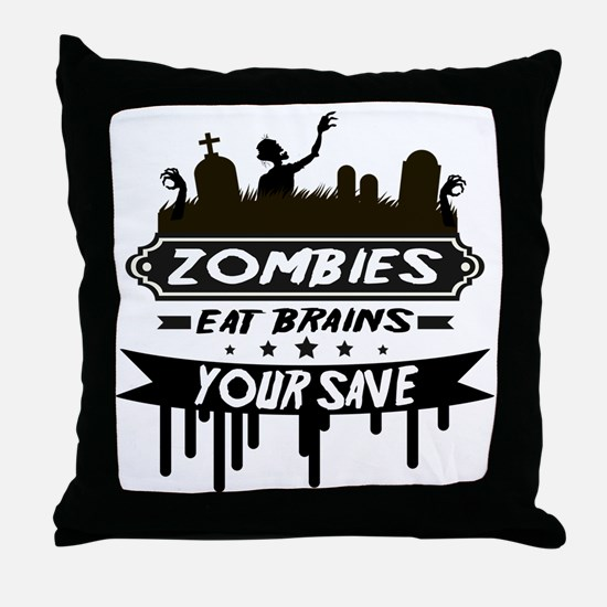 zombies eat brainss Throw Pillow