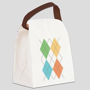 Spring Argyl Canvas Lunch Bag