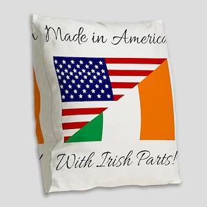 Made in America with Irish Par Burlap Throw Pillow