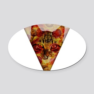 PizzaCat Slice Oval Car Magnet