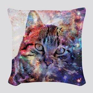 SpaceCat Woven Throw Pillow