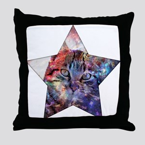SpaceCat Star Throw Pillow