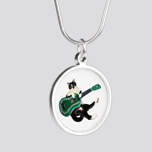 Cat Ukulele Silver Round Necklace
