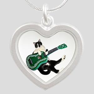 Cat Ukulele Silver Heart Necklace