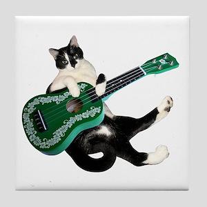 Cat Ukulele Tile Coaster