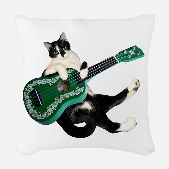 Cat Ukulele Woven Throw Pillow