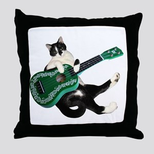 Cat Ukulele Throw Pillow