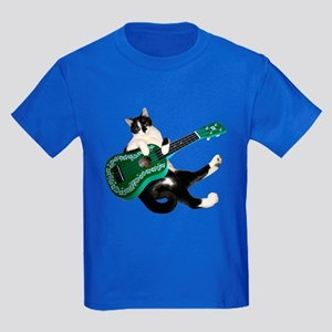 Cat Ukulele Kids Dark T-Shirt