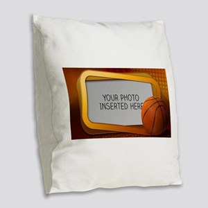 Basketball Window L Burlap Throw Pillow