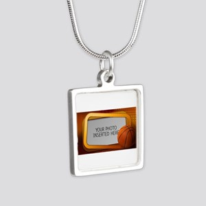 Basketball Window L Silver Square Necklace