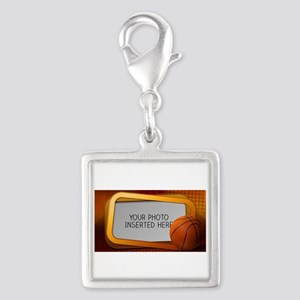 Basketball Window L Silver Square Charm