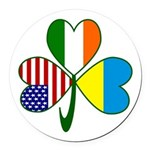 Shamrock of Ukraine Round Car Magnet