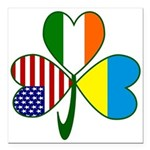 Shamrock of Ukraine Square Car Magnet 3