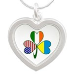Shamrock of Ukraine Silver Heart Necklace