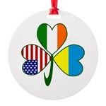 Shamrock Of Ukraine Round Ornament
