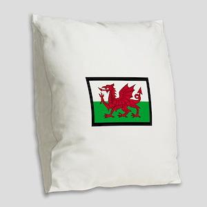 FLAG OF WALES Burlap Throw Pillow