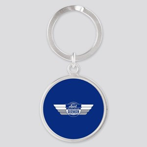 Proud Aunt Of an Airman Round Keychain