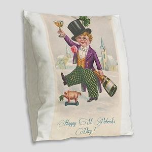 Vintage Happy St. Patrick's Day Burlap Throw Pillo