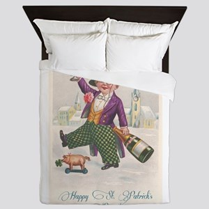 Vintage Happy St. Patrick's Day Queen Duvet