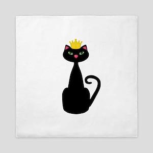 Black Cat With a Crown Queen Duvet