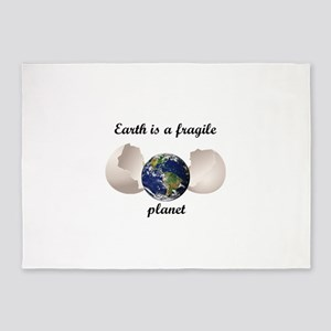 Earth is a fragile planet 5'x7'Area Rug