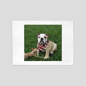 bulldog 4th of july 5'x7'Area Rug