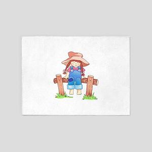 GIRL SITTING ON FENCE 5'x7'Area Rug