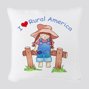 I LOVE RURAL AMERICA Woven Throw Pillow
