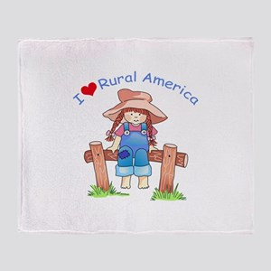 I LOVE RURAL AMERICA Throw Blanket