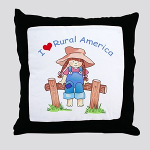 I LOVE RURAL AMERICA Throw Pillow