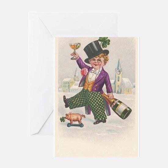Vintage St Patricks Day Champagne Boy Greeting Car