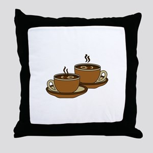 TWO COFFEE CUPS Throw Pillow