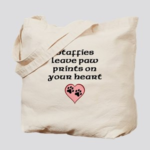 Staffies Leave Paw Prints On Your Heart Tote Bag