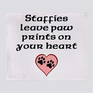 Staffies Leave Paw Prints On Your Heart Throw Blan
