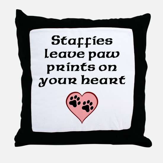 Staffies Leave Paw Prints On Your Heart Throw Pill