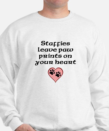 Staffies Leave Paw Prints On Your Heart Sweatshirt