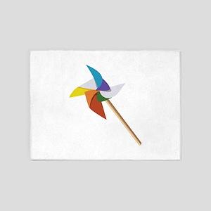 Colorful Pinwheel 5'x7'Area Rug