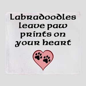 Labradoodles Leave Paw Prints On Your Heart Throw