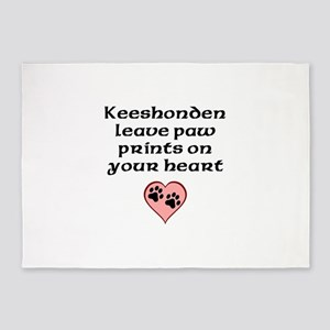 Keeshonden Leave Paw Prints On Your Heart 5'x7'Are