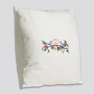 BIRDS AND HEARTS Burlap Throw Pillow