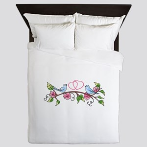 BIRDS AND HEARTS Queen Duvet