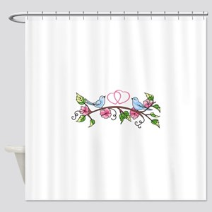 BIRDS AND HEARTS Shower Curtain