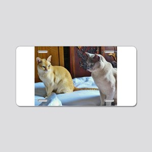 Red and Lilac Burmese Cats Aluminum License Plate