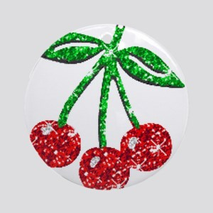 Sparkling Cherries Ornament (Round)