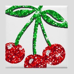 Sparkling Cherries Tile Coaster