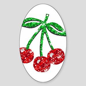 Sparkling Cherries Oval Sticker